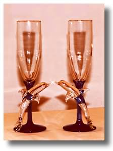 Kissing Dolphin Champagne Glasses